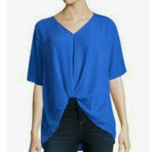 Belle sky blue knot drape top